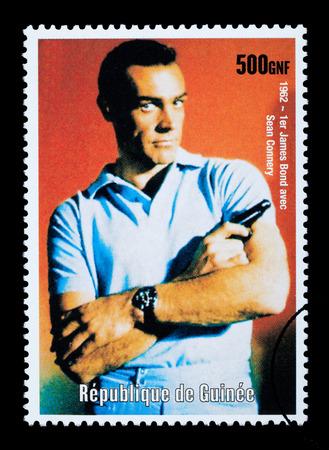 sean: REPUBLIC OF GUINEA - CIRCA 2003: A postage stamp printed in the Republic of Guinea showing James Bond, circa 2003