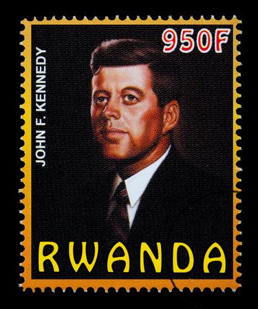 jfk: RWANDA - CIRCA 2004: A postage stamp printed in Rwanda showing John F. Kennedy, circa 2004 Editorial