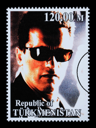 REPUBLIC OF TURKMENISTAN - CIRCA 2005: A postage stamp printed in Turkmenistan showing  Arnold Schwarzenegger, circa 2005 Stock Photo - 28306885