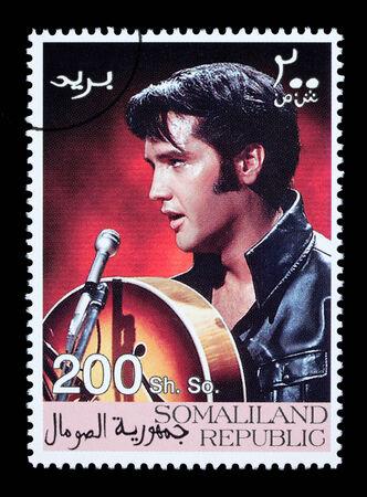elvis presley: SOMALILAND - CIRCA 2008: A postage stamp printed in Somaliland showing Elvis Presley, circa 2008 Editorial
