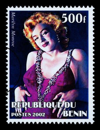 marilyn: REPUBLIC OF BENIN - CIRCA 2002: A postage stamp printed in the Republic of Benin showing Marilyn Monroe, circa 2002