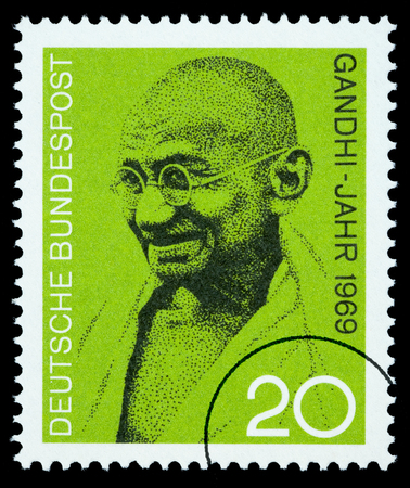 GERMANY - CIRCA 2004: A postage stamp printed in Germany showing Mohandas Karamchand Gandhi, circa 2004