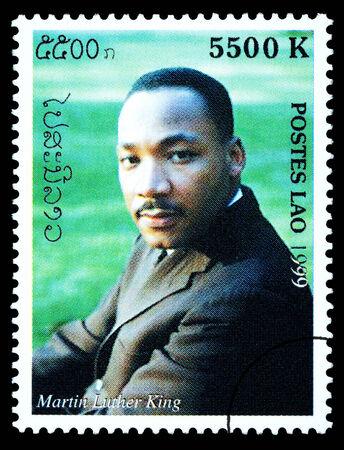 rey: LAOS - CIRCA 1999: Un sello impreso en Laos muestra Martin Luther King, circa 1999 Editorial
