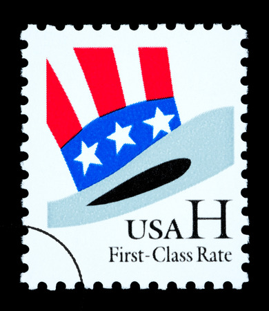 UNITED STATES AMERICA - CIRCA 2002: A postage stamp printed in the USA of Uncle Sams Hat, circa 2002