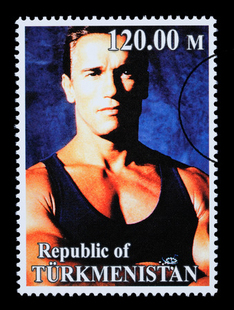 REPUBLIC OF TURKMENISTAN - CIRCA 2005: A postage stamp printed in Turkmenistan showing  Arnold Schwarzenegger, circa 2005 Stock Photo - 28306898