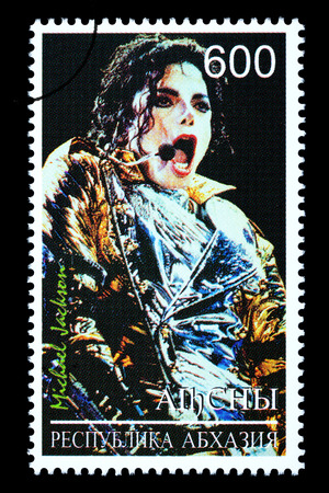 michael jackson: RUSSIA - CIRCA 2005: A postage stamp printed in Russia showing Michael Jackson, circa 2005
