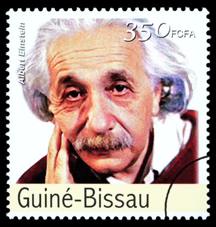 albert: REPUBLIC OF GUINEA-BISSAU - CIRCA 2000: A postage stamp printed in the Republic of Guinea-Bissau showing Albert Einstein, circa 2000