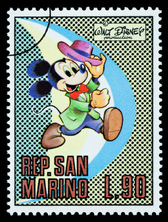 disney cartoon: San Marino - CIRCA 1970: A postage stamp printed in San Marino showing the Disney character Mickey Mouse, circa 1970