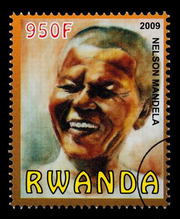 RWANDA - CIRCA 2004: A postage stamp printed in Rwanda showing Nelson Mandela, circa 2004 Editorial