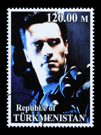 REPUBLIC OF TURKMENISTAN - CIRCA 2005: A postage stamp printed in Turkmenistan showing  Arnold Schwarzenegger, circa 2005 Stock Photo - 28306914