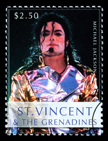 michael jackson: ST. VINCENT - CIRCA 2010: A postage stamp printed in Saint Vincent showing Michael Jackson, circa 2010