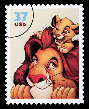 postage stamp: UNITED STATES AMERICA - CIRCA 2004: A postage stamp printed in the USA showing the Disney character the Lion King, circa 2004