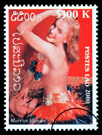 LAOS - CIRCA 1999: A postage stamp printed in Laos showing Marilyn Monroe, circa 1999