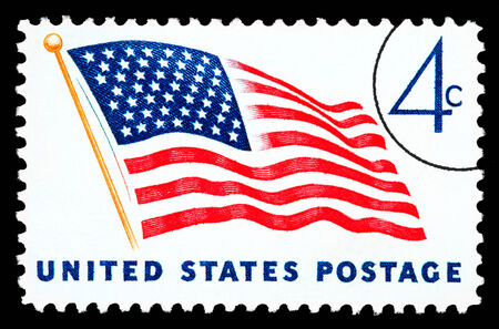 UNITED STATES AMERICA - CIRCA 1970: A postage stamp printed in the USA of the American flag, circa 1970