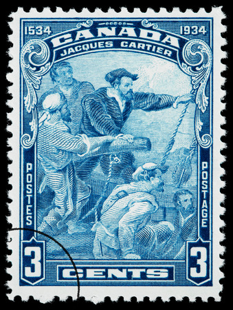CANADA - CIRCA 1934: A postage stamp printed in Canada of Jacques Cartier, circa 1934