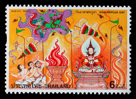Thailand - Circa 1997: A Thai postage stamp printed in Thailand of a mural depicting traditional Thai culture
