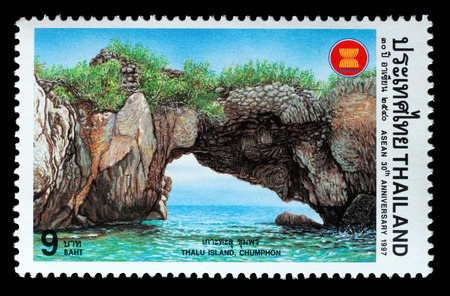 Thailand - Circa 1997: A Thai postage stamp printed in Thailand depicting an island in Thailand