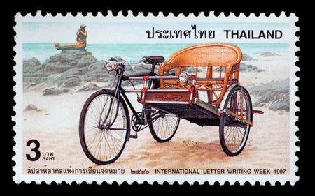 Thailand - Circa 1997: A Thai postage stamp printed in Thailand depicting a rickshaw Redakční