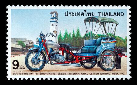Thailand - Circa 1997: A Thai postage stamp printed in Thailand depicting a Thai Tuk-Tuk Redakční