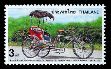 Thailand - Circa 1997: A Thai postage stamp printed in Thailand depicting a rickshaw