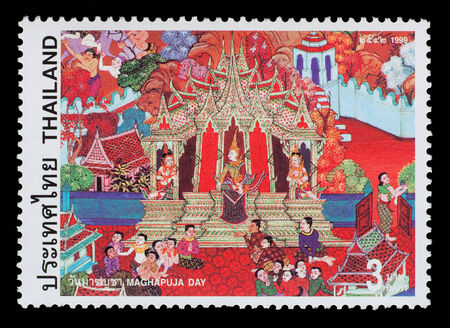 Thailand - Circa 1999: A Thai postage stamp printed in Thailand of a mural depicting traditional Thai culture