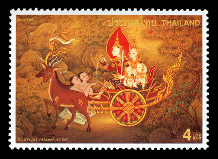 Thailand - Circa 1998: A Thai postage stamp printed in Thailand of a mural depicting traditional Thai culture Redakční