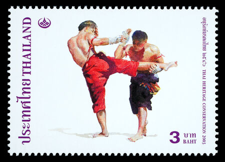 thai boxing: Thailand - Circa 2003: A Thai postage stamp printed in Thailand depicting traditional Muay Thai boxing