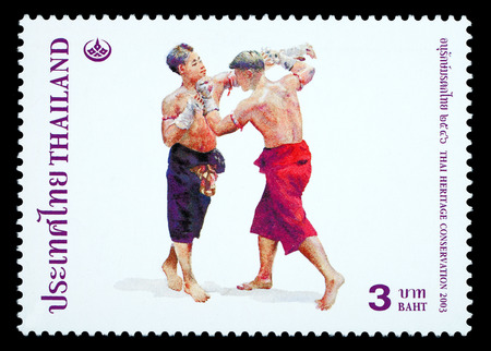 Thailand - Circa 2003: A Thai postage stamp printed in Thailand depicting traditional Muay Thai boxing