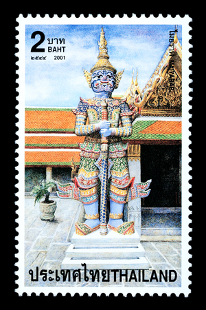 Thailand - Circa 2001: A Thai postage stamp printed in Thailand depicting a traditional Thai Buddhist temple statue Redakční