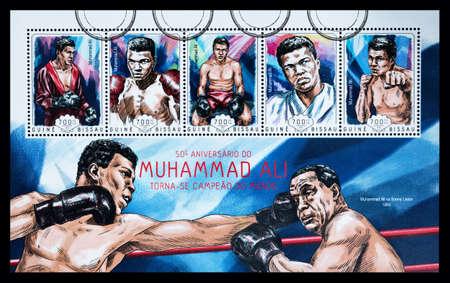 ali: NEW YORK, USA - CIRCA 2016: A postage stamp sheet printed in Guine Bissau showing Muhammad Ali, circa 2014 Editorial