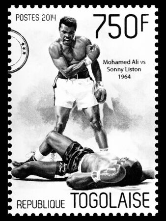 NEW YORK, USA - CIRCA 2016: A postage stamp printed in Togo showing Muhammad Ali, circa 2014