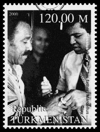 muhammad: NEW YORK, USA - CIRCA 2016: A postage stamp printed in Turkmenistan showing Muhammad Ali, circa 2000