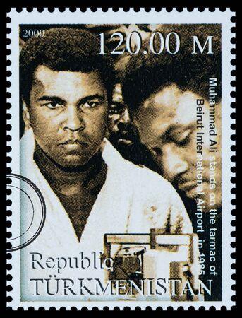 NEW YORK, USA - CIRCA 2016: A postage stamp printed in Turkmenistan showing Muhammad Ali, circa 2000