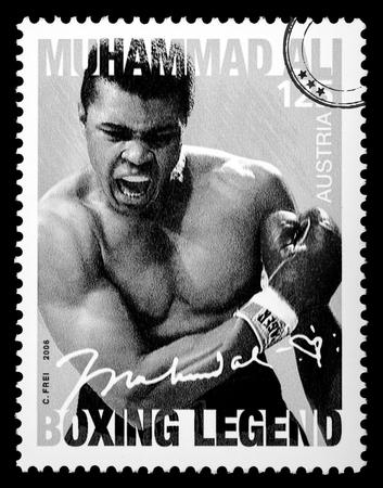ali: LUXEMBOURG - CIRCA 2015: A postage stamp printed in Vienna Austria showing Muhammad Ali, circa 2006 Editorial