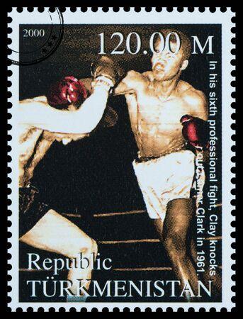ali: NEW YORK, USA - CIRCA 2016: A postage stamp printed in Turkmenistan showing Muhammad Ali, circa 2000