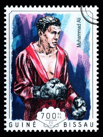 muhammad: NEW YORK, USA - CIRCA 2016: A postage stamp printed in Guine Bissau showing Muhammad Ali, circa 2014