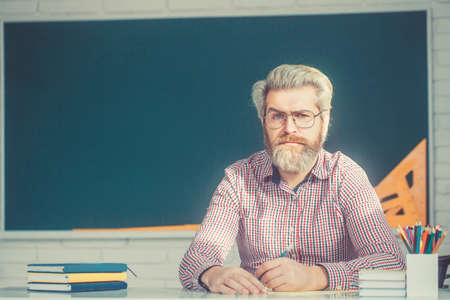 Portrait of confident caucasian male teacher with beard in classroom.