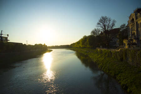 Small peaceful river in the Uzhgorod, public place in the city located on the center Stock Photo