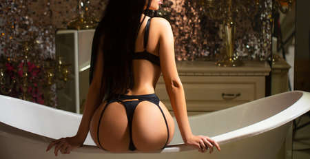 Sexy curves girl butt, without cellulite in bathroom
