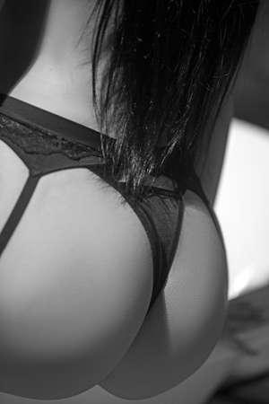 Hot girl in dress. Black lingerie. Banque d'images