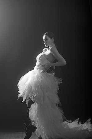 High fashion shot of elegant woman in long dress. Stockfoto