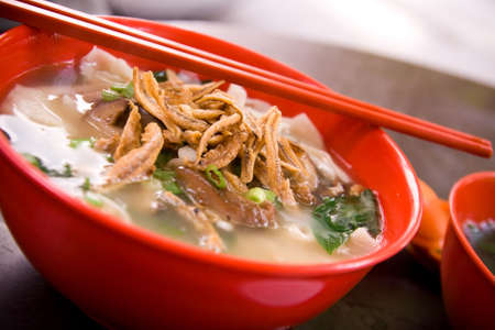 malaysian food: Famous Chinese soup noodle in Malaysia, which normally known as Pan Mee.