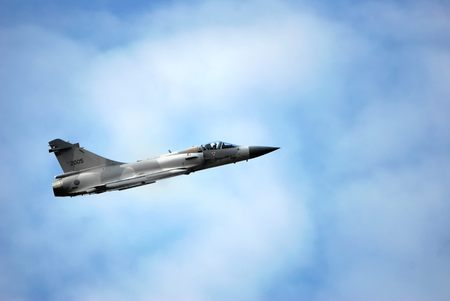 Mirage 2000 fighter in the clouds Stock Photo