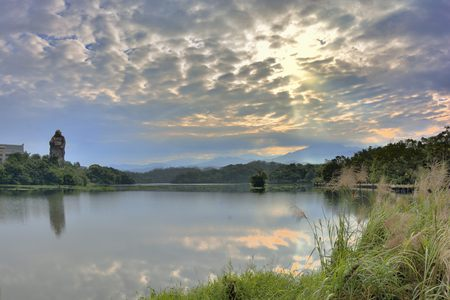 . Lake scenery Sunrise scenery, At Hsinchu Emei Lake, Taiwan Photo taken on: Nov 12,2016