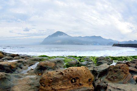 The Elephant nose weathering rocks, Shen-ao fishing port on Taipei, Taiwan.Photo taken on: February 4,2017 Reklamní fotografie
