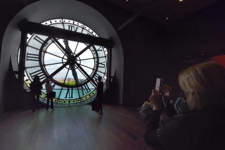 pendulum: Interior of Museum Orsay in Paris, France. Musee dOrsay