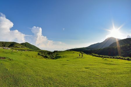 Qingtiangang Grassland in Taipei Yangmingshan, Taiwan.Photo taken on: JULY 1,2018,Shooting spot of Qingtiangang Grassland in Taipei Yangmingshan,Taiwan ROC People are tourists.