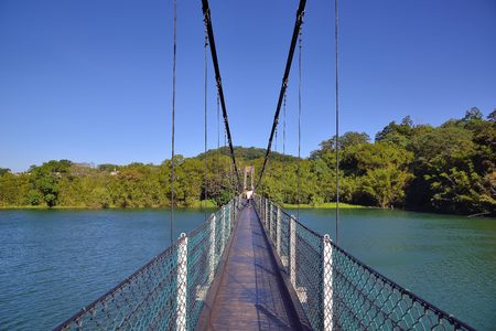 The beautiful scenery of the suspension bridge of the reservoir, Hsinchu, Taiwan
