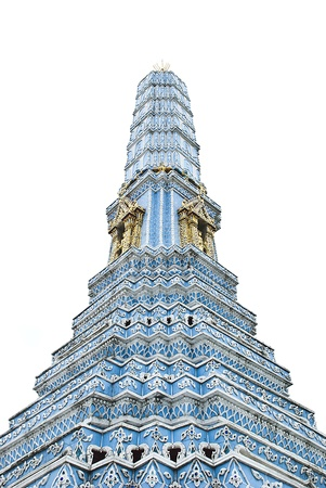 blue pagoda , art Thai work and white background , photo