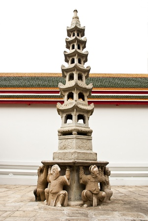 moldel Chinese figure carry the pagoda  in Thai temple Stock Photo